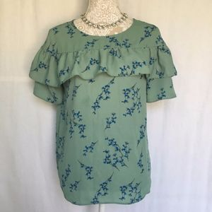 Loft Outlet // Mint Green Floral Ruffle Blouse